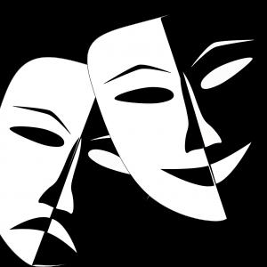 Na obrazku czarno biała grafika przedstawiająca dwie teatralne maski, jedna prezentuje usmiechniętą minę, druga minę smutną.
